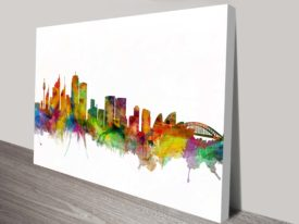 Sydney Australia Watercolour Skyline Wall Print