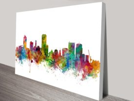 Wellington New Zealand Skyline Art Print by Michael Tompsett