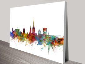 Norwich Colour City Skyline by Michael Tompsett Printed Canvas Art