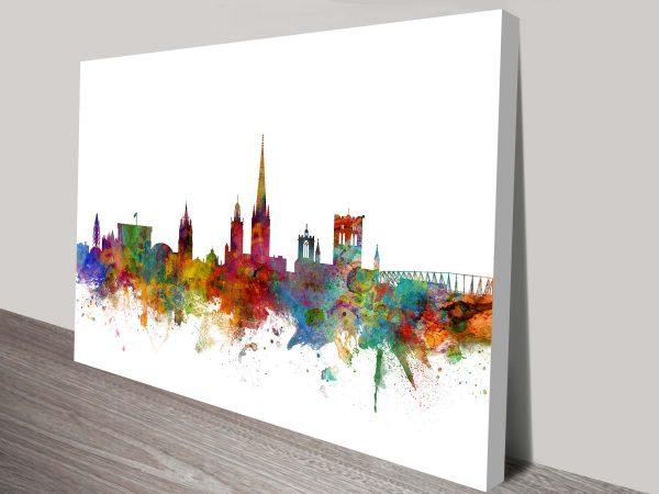 Norwich Colour City Skyline by Michael Tompsett Printed Canvas Art