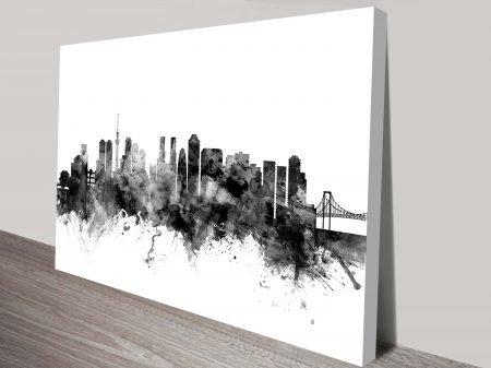 Tokyo Japan City Skyline Watercolour by Michael Tompsett