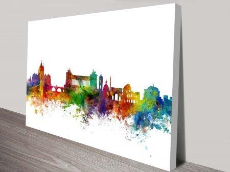 Rome Colour City Skyline by Michael Tompsett Watercolour Canvas Art