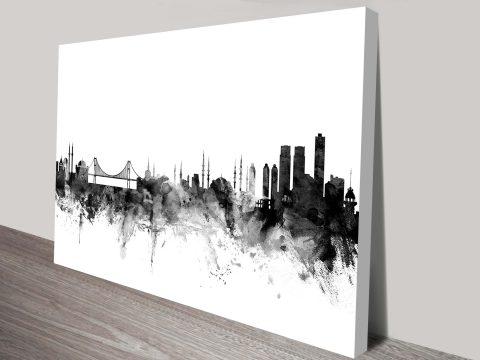 m1555-iIstanbul Grayscale Skyline Michael Tompsett Graphic Cityscape Canvasstanbul-turkey-skyline-wall