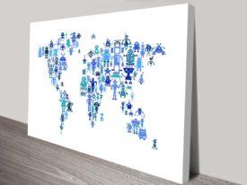 Kids Art Robot World Map by Michael Tompsett