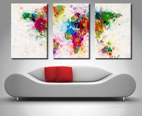 World Map Paint Splashes Triptych Set