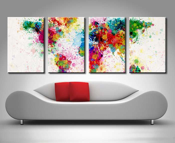 Michael Tompsett World Map 4 Panel Canvas Print Set