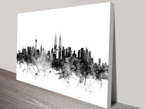 Kuala Lumpur Skyline Graphic Michael Tompsett Ready to Hang Canvas