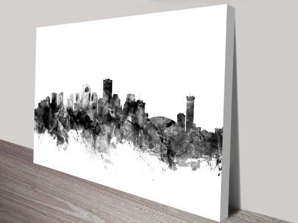 New Orleans Monochrome Skyline Michael Tompsett Watercolour Canvas