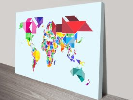 Tangram Abstract World Map Wall Art