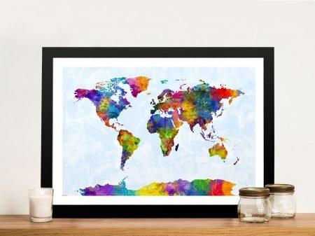Watercolour World Map Framed Wall Art