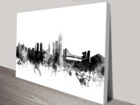 Oslo Monochrome Skyline Michael Tompsett Watercolour Canvas Wall Art