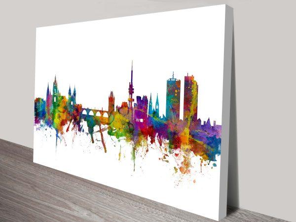 New Delhi Watercolour Cityscape by Michael Tompsett Ready to Hang Art
