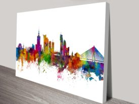 Warsaw Poland Skyline by Michael Tompsett Colour Cityscape Framed Art