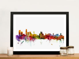 Watercolour Liverpool, England City Skyline Michael Tompsett Wall Art Print