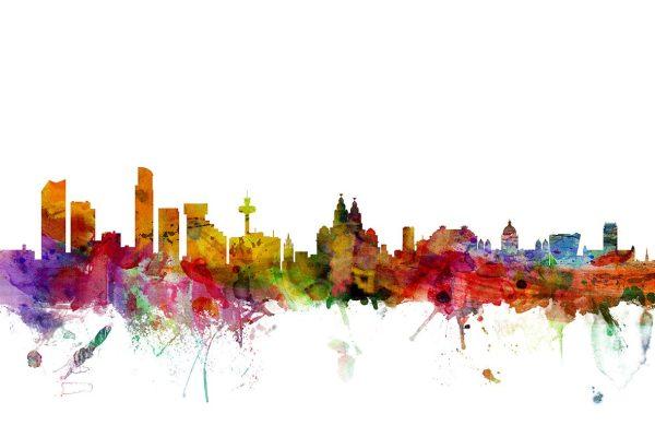 Liverpool Skyline Michael Tompsett watercolour Print