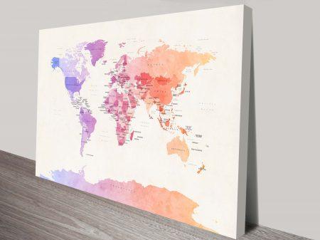 Watercolour Political Map of the World Michael Tompsett