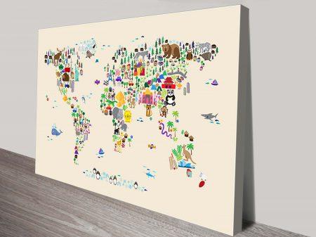 Animal Map of the World for children and kids michael tompsett