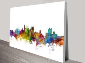 Cambridge Watercolour England-Skyline Art Print Michael Tompsett