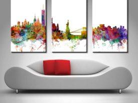 New York Skyline watercolour triptych