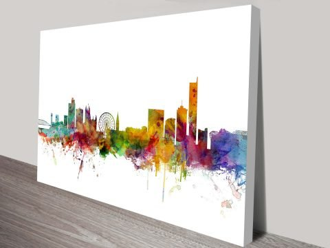 Manchester City-Skyline-Watercolour Art Print Michael Tompsett