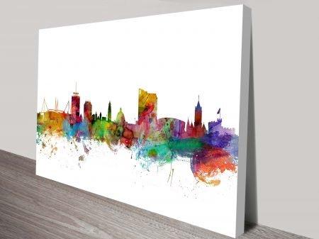 Cardiff Wales City Skyline Watercolour Art Print Tompsett