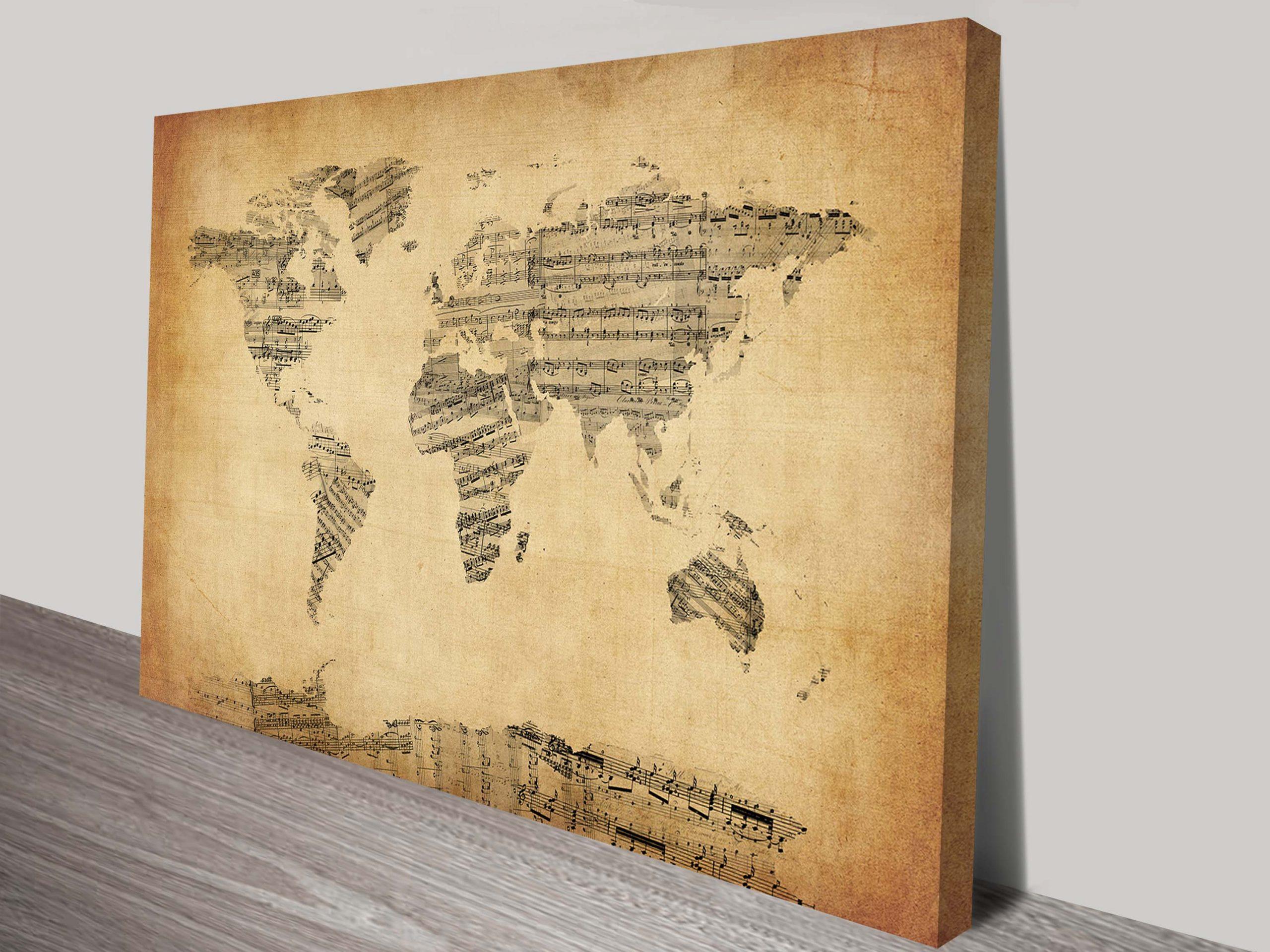 World Map Vintage Old Sheet Music Michael Tompsett