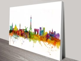 Watercolour Paris Skyline Art Print by Michael Tompsett