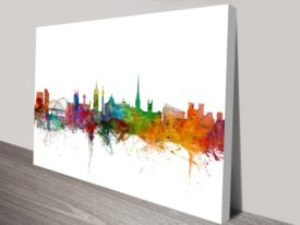 Newcastle England Skyline Watercolour Art Print
