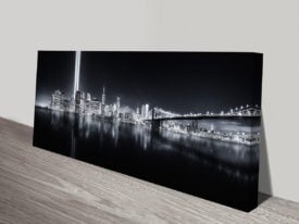 Night Time Lower Manhattan City Skyline Panoramic Canvas Wall Art