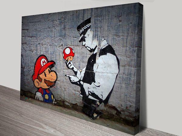 marios mushrooms street art print