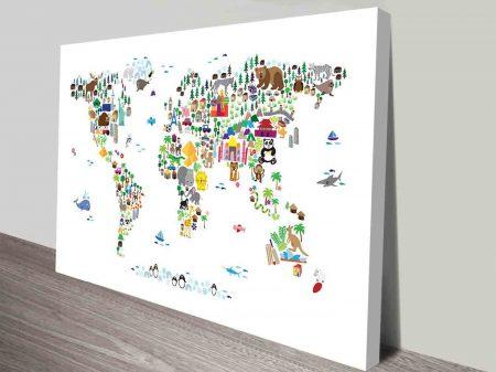 michael tompsett animal map for kids wall art canvas