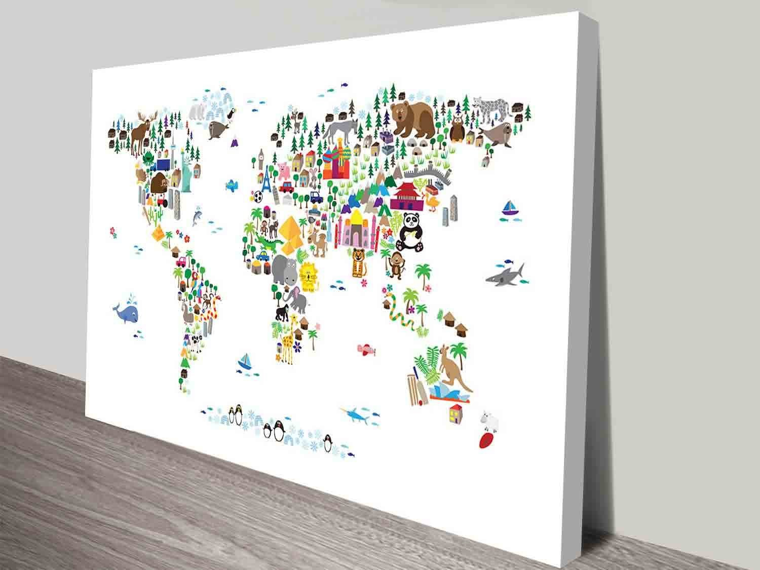 Animal map of the world for kids michael tompsett on canvas print michael tompsett animal map for kids wall art canvas gumiabroncs Image collections