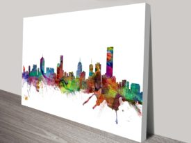 Melbourne Skyline Michael Tompsett Wall Art