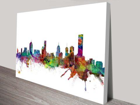 Melbourne Skyline Michael Tompsett Wall Art