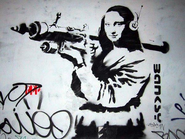 Mona Lisa Rocketlauncher banksy canvas art