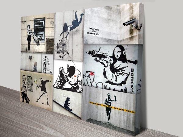 Mono Colour Banksy Collage Canvas Print