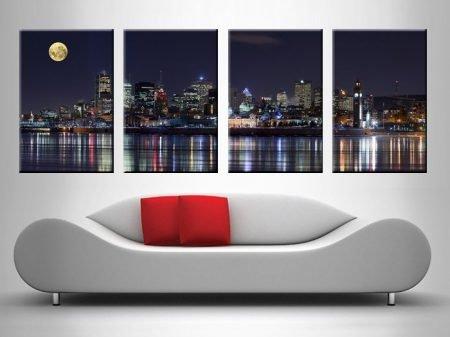 montreal at night panel wall canvas print