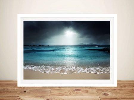 Moody Shore Ocean Seascape Framed Art