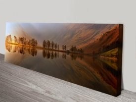 mountain lake reflections panoramic wall art print on canvas