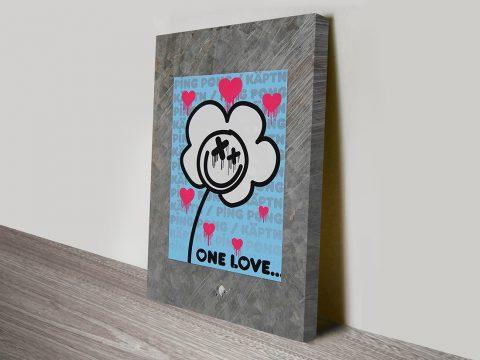 one love graffiti canvas print.