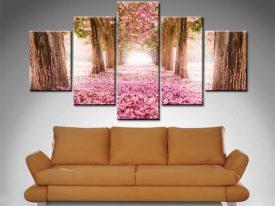 Flower Petals Path 5 Panel Canvas Print Set