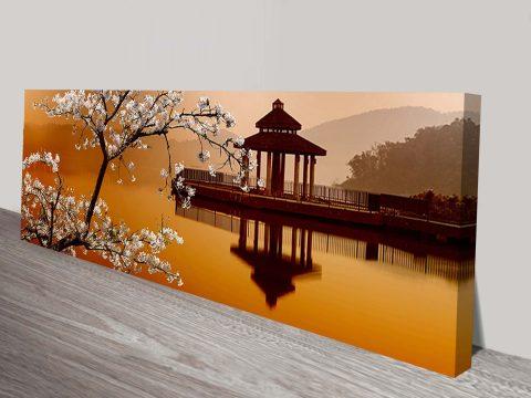 Eastern Tranquility Sakura Pagoda Landscape Mounted Art Print Australia