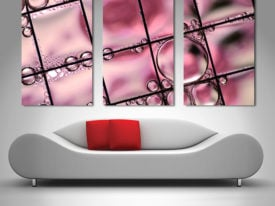 pink bubbles triptych 3 panel canvas print