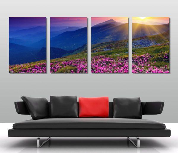pink fields 4 panel canvas print australia