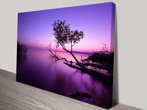 purple shores lake sunrise canvas print
