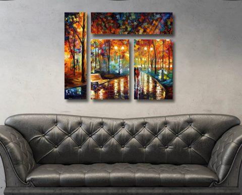 Rain Rustle Mixed 4 Panel on Canvas