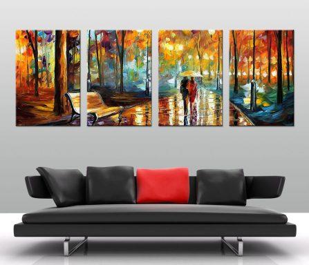 Rain Rustle Leonid Afremov 4-Panel Canvas