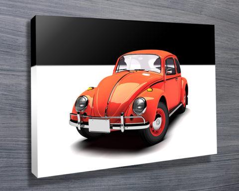 red VW beetle art australia
