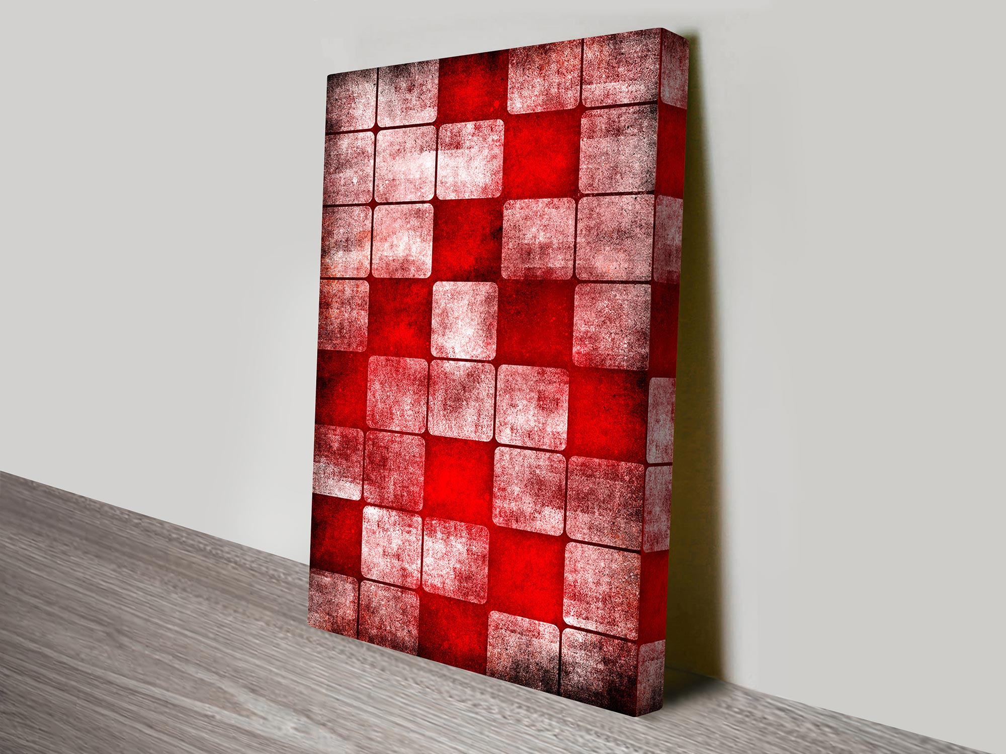 Red Cubes Abstract Wall Art Print