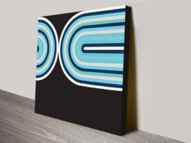 Retro Geometric Curves Blue Seventies Inspired Ready to Hang Wall Art